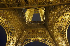 The Eiffel Tower at Night. From underneath Stock Photo