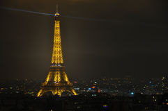 The Eiffel Tower at night viewed from Arc de Triomphe, Paris, Fr. Ance Stock Image