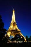 Eiffel Tower at nightfall - angle view Royalty Free Stock Image