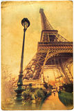 Eiffel Tower on an old card texture Royalty Free Stock Images