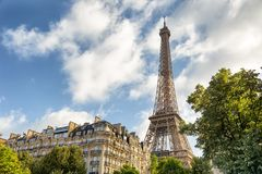 Eiffel Tower one field of Mars in Paris, France Royalty Free Stock Images