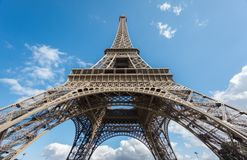 The Eiffel Tower over blue sky, bottom-up view Royalty Free Stock Images