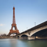 Eiffel tower over blue sky at sunset, Paris Royalty Free Stock Photos
