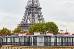 Eiffel tower over the Parisian roofs with attics and chimneys Stock Images