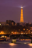Eiffel Tower over the River Seine Stock Images