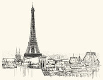 Eiffel tower over roofs of Paris royalty free illustration