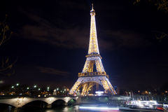 Eiffel tower over Seine in Paris stock photography