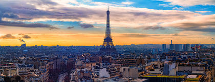 Eiffel Tower. Panorama as seen from the Arc de Triomphe Stock Photos