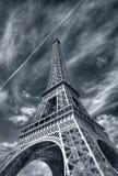 Eiffel Tower (Paris). Dramatic black & white view of Eiffel Tower (Paris royalty free stock photography