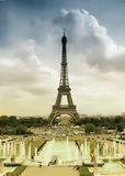 Eiffel Tower, Paris. View to Eiffel Tower in cloudy weather. Paris, France Stock Photos