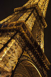 Eiffel Tower, Paris. Close up Eiffel Tower by night, Paris Royalty Free Stock Photography