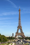 The Eiffel Tower in Paris. Eiffel Tower in Paris and city skyline in background with Montparnasse tower Stock Images