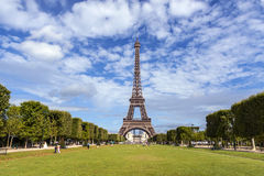 The Eiffel Tower in Paris. View from Champ de Mars park area Stock Photo