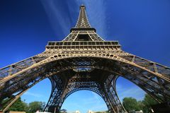 Eiffel Tower of Paris. On a vey blue sky Royalty Free Stock Images