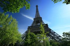 Eiffel Tower of Paris. On a vey blue sky Royalty Free Stock Photo