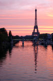 Eiffel tower, paris. View of paris with seine river and eiffel tower and sunset Royalty Free Stock Images