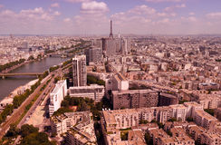 Eiffel tower in paris from above. Aerial view over paris with eiffel tower in the centre Stock Image