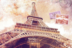Eiffel Tower Paris. Abstract digital art of Eiffel Tower in Paris. Old paper. Digital art, high resolution, printable on canvas
