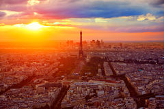 Eiffel Tower in Paris aerial sunset France Royalty Free Stock Photography