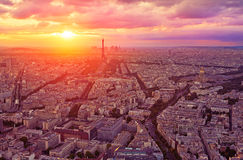 Eiffel Tower in Paris aerial sunset France Royalty Free Stock Images