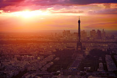 Eiffel Tower in Paris aerial sunset France Stock Image