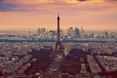Eiffel Tower in Paris aerial sunset France Stock Images