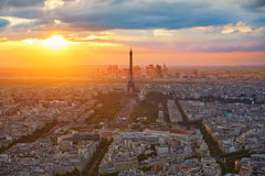 Eiffel Tower in Paris aerial sunset France Royalty Free Stock Photos