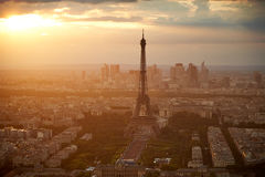 Eiffel Tower in Paris aerial sunset France Royalty Free Stock Image
