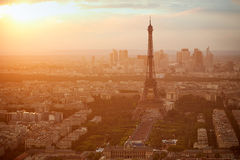 Eiffel Tower in Paris aerial sunset France Royalty Free Stock Photo
