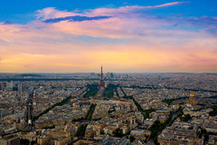 Eiffel Tower in Paris aerial sunset France Stock Photo