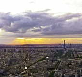 Eiffel tower in Paris at atmospheric dusk Stock Photos