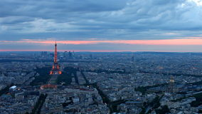 Eiffel Tower in Paris at atmospheric dusk Royalty Free Stock Images