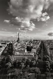 Eiffel Tower and Paris avenues in Black & White. France. The Eiffel Tower and tree-lined Paris avenues with Haussmannian buildings Avenue d`Iena and Avenue Royalty Free Stock Image