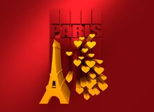 Eiffel tower in Paris. Backdrop with hearts. Eiffel tower in Paris. Contour silhouette striped backdrop with hearts icons. 3D rendering royalty free illustration