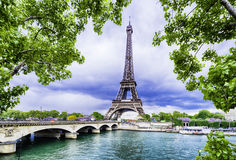 Eiffel tower, Paris. Beautiful Eiffel tower as a postcard, Paris Royalty Free Stock Images