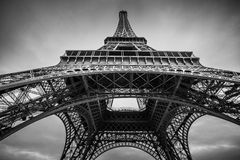 Eiffel Tower in Paris. The Eiffel Tower in Paris - Black and White Royalty Free Stock Photo