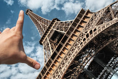 Eiffel tower in Paris on blue sky measuring tower palm Stock Images