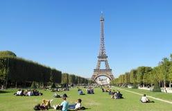 Eiffel Tower in Paris at Champ de Mars Stock Photos