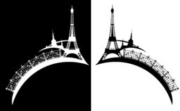 Eiffel tower and paris city silhouette vector design. Eiffel tower and arch bridge with city outline - black and white french capital silhouette set royalty free illustration