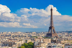Eiffel tower with Paris city on sunny day. View of Paris with Eiffel tower from The Arc de Triomphe Stock Photos