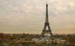 Eiffel Tower and Paris cityscape from Jardins de Trocadero during sunset in autumn, Paris, France stock photo