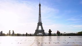 Eiffel Tower and Paris cityscape stock video footage