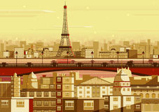 Eiffel tower in Paris cityscape Stock Images