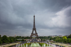 Eiffel Tower in Paris in a cloudy day Royalty Free Stock Photography