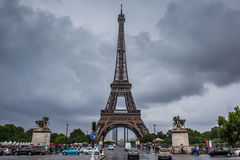 Eiffel Tower in Paris in a cloudy day Royalty Free Stock Image