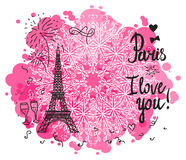 Eiffel Tower Paris color. Paris I love you. Illustration black ink Eiffel Tower. Vector decorations isolated on white background. Handwritten inscription Stock Photos