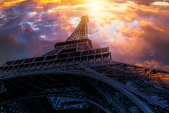 Eiffel Tower. In Paris, colorful cloudy sky royalty free stock photo
