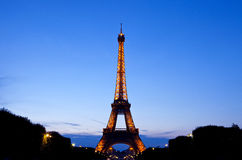 The Eiffel Tower in Paris at Dusk Royalty Free Stock Photography