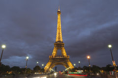 Eiffel tower in Paris at dusk, France Royalty Free Stock Image