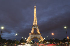 Eiffel tower in Paris at dusk, France Royalty Free Stock Photos